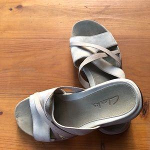 Clarks Shoes - CLARKS Sandals Size 7 Beige Slip On Shoes Comfort